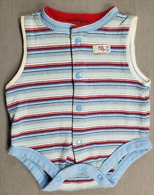 Baby Connection 0-3 Month Baby Boy Blue & Red Striped Bodysuit