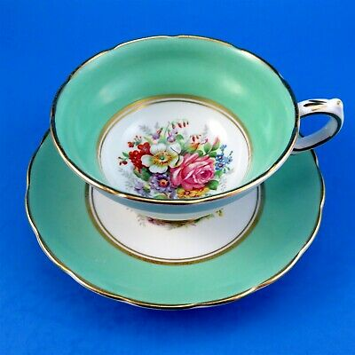 Mint Green Border with Floral Center Grosvenor Tea Cup and Saucer Set