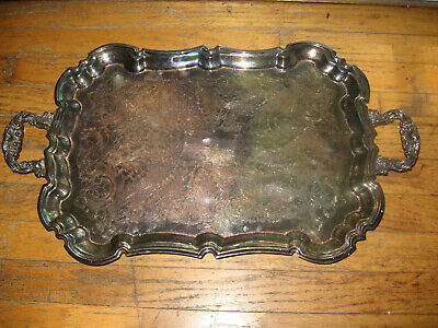 "Leonard Silver Plated 23"" Serving Tray With Claw Footing And Floral Handles"