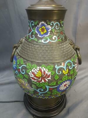 Antique Chinese Bronze Cloisonne Champleve Asian Oriental Vase Urn Lamp Light