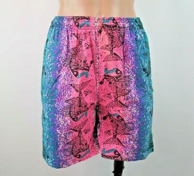 VTG 80s Vicious Fishes Swim Trunks Shorts NEON All Over Print Fossils sz L NWOT