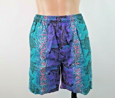 VTG 80s Vicious Fishes Swim Trunks Shorts NEON All Over Print Fossils 6X-7 NWOT