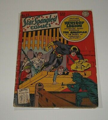 GOLDEN AGE 1942 DC STAR SPANGLED COMICS #11 SIMON & KIRBY art WWII BELOW GUIDE