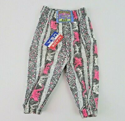Piranha Bay VTG 80s NEON All Over Print Parachute Pants Joggers Gecko NWT 18 mo