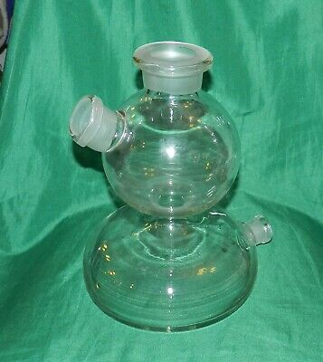 Large Vintage Scientific Glassware Two Large Bulbous Chambers, Made In Germany