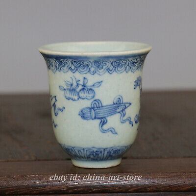 "2.5""Chinese Porcelain Blue White Eight Auspicious Symbols Pattern Teacup/WineCup"