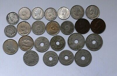 Egypt 1917,24 coins Mix Silver,Nickles,(5 silver King Farouk/Fousd)Unc/F/VF