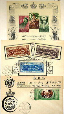 Egypt stamps 1951 King Farouk Wedding,History douments stamps1936 Rare !