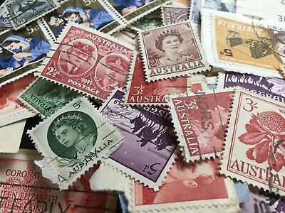 Australian Pre-Decimal Stamps - Random Mixed Lot Of Approx 100