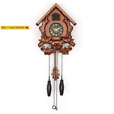 Polaris Clocks Cuckoo Wall Clock With Night Mode, Singing Bird And Carved Wood D