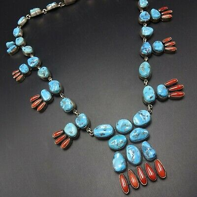 Alluring FEDERICO JIMENEZ Sterling Silver CORAL and MORENCI TURQUOISE NECKLACE
