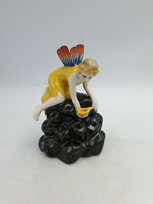 Art Deco Flower Frog Porcelain Hat Pin Holder Fairy Nymph On A Rock 1920's Style