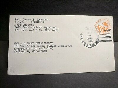 APO 174 LINZ, AUSTRIA 1946 Army Cover 24th CONSTABULARY Sqdn Soldier's Mail