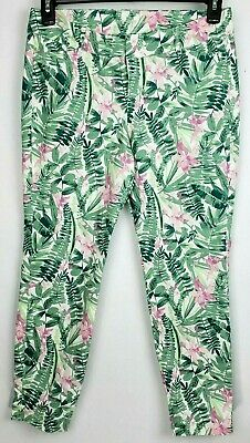 Old Navy Womens White Green Pink Floral Stretch Pixie Skinny Ankle Pants 6 P NWT