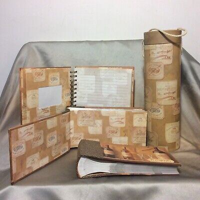 Decorative Wine Bottle Gift Box Set w/  Recipe & Photo Albums Pre-Owned CLEAN