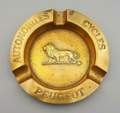 Ancien cendrier Peugeot Automobiles Cycles - 1920 - Laiton - 10,5 cm - Ashtray