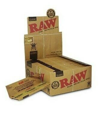Raw Classic King Size Slim Rolling Paper Full Box 50 Booklets