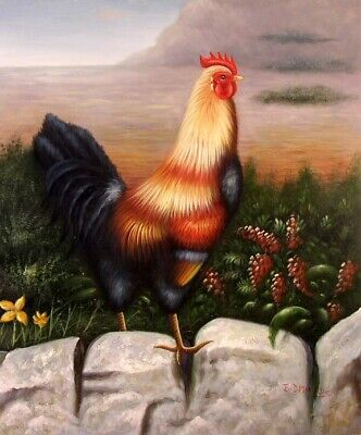 Proud Rooster Barnyard Chicken Yellow & Black Hand Made Oil Painting STRETCHED