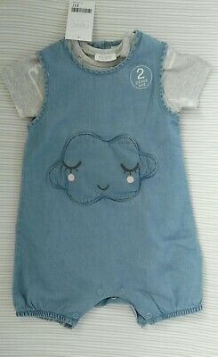 BNWT Next Baby Boys/Girls Denim Romper and Bodysuit Set Age 9-12 months