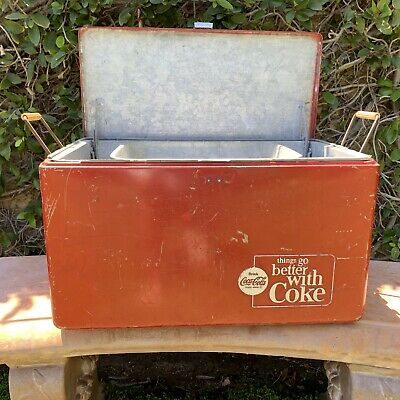 1950's VINTAGE Coca Cola PICNIC Cooler Progress REFRIGERATOR CO. LOUISVILLE KY