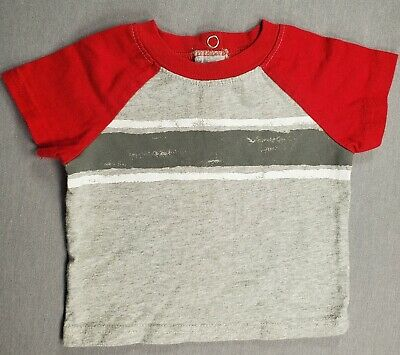 Faded Glory 0-3 Month Baby Boy Red & Gray Striped Shirt