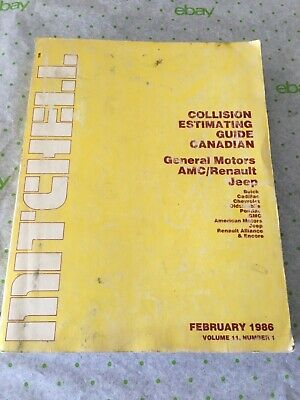 Mitchell collision estimating guide Canadian Feb 1986, Vol II, number 1