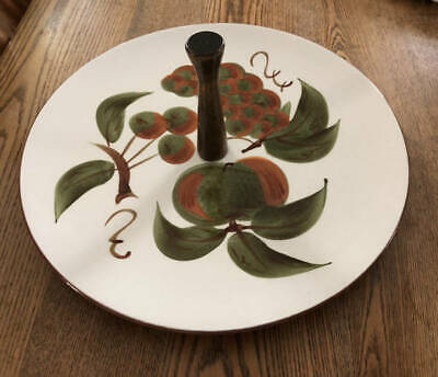 """Stangl Orchard Song Tidbit Plate Tray 10"""" Wooden Handle"""
