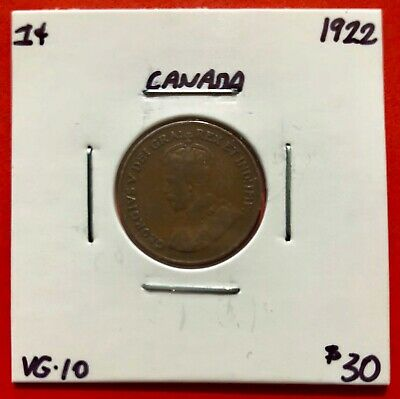 1922 Canada One Cent Penny Coin - $30 VG-10