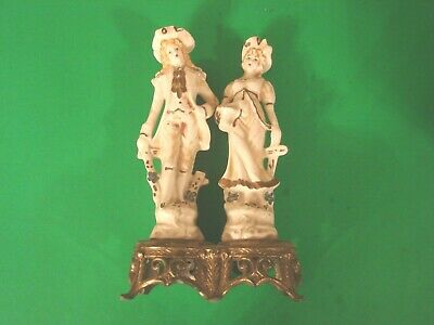 Antique Man and Woman Figural Victorian French Colonial Style Lamp Base Only