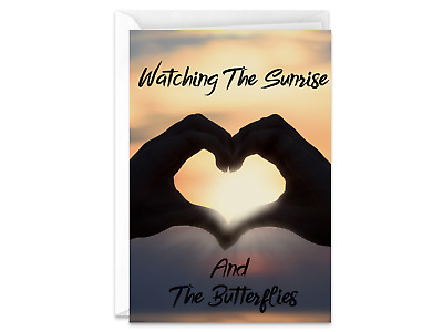 Watching The Sunrise And The Butterflies Happy Birthday Handmade Greeting Card