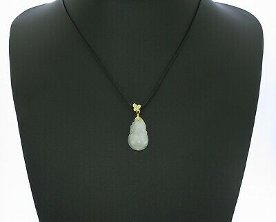 "1""China Certified Grade A Nature Hisui Jadeite Jade Wealth Gourd Necklace 8684"