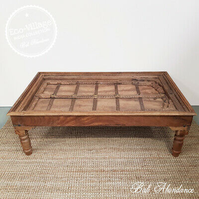 Vintage Indian Door Coffee Table with Turned Legs - Eco Village Collection