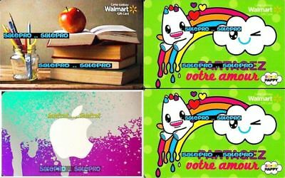 4x WALMART SHARE LOVE PARTAGEZ BOOKS PENS APPLE STORE COLLECTIBLE GIFT CARD LOT