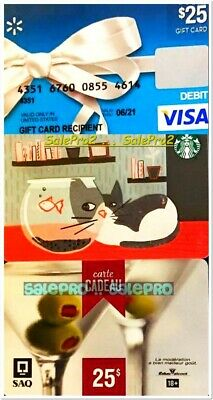 3x STARBUCKS PUSSY CAT CREDIT SHOP SAQ OLIVE WINE COLLECTIBLE GIFT CARD LOT