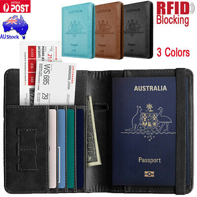 Premium Leather Travel Passport Credit Card Wallet Case RFID Blocking Anti Scan