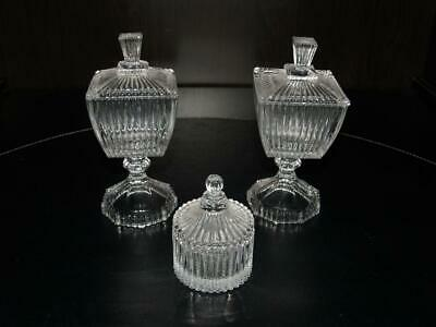 Art Deco - Beautiful Trio Of Glass Containers - Excellent Condition.