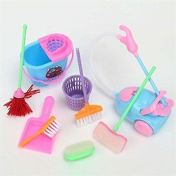 Mini 9Pcs a Set Doll Cleaning Tools Furniture Home Princess Baby Plush Cleaner H