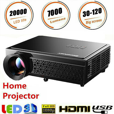 7000 Lumens Outdoor LED Full HD Video Projector Home Theatre HDMI USB VGA Ciname
