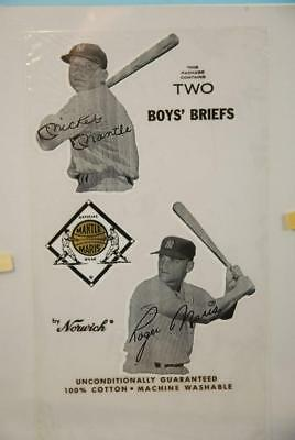 RARE! 1960's Norwich Mickey Mantle & Roger Maris Boys Briefs Package Gold Base