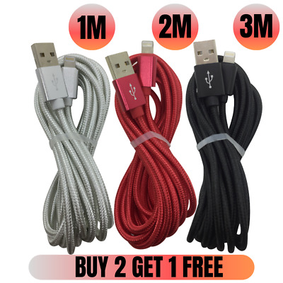 1M 2M 3M Heavy Duty Braided iPhone Xs X 8 Lightning Cable USB Charger Data Cord