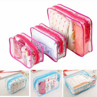 3 Pcs Waterproof Clear Cosmetic Toiletry PVC Travel Wash Makeup Bag Pouch Kit UK