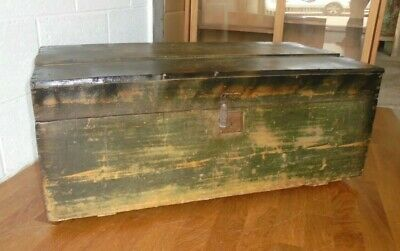 Antique French Country Rustic Old Pine Chest Trunk Toy Storage Box Coffee Table