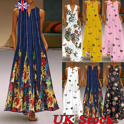 Ladies Women V Neck Long Dresses Sleeveless Loose Summer Casual Party Maxi Dress