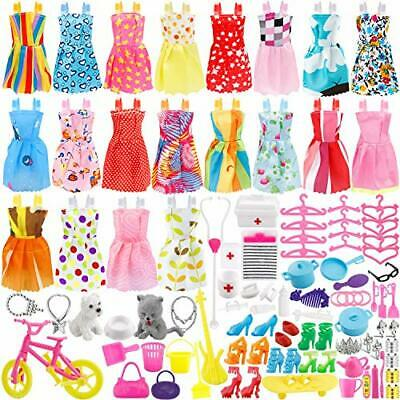 135 Pcs Doll Clothes Huge Lot Gown Outfits Party Accessories Barbie Girl