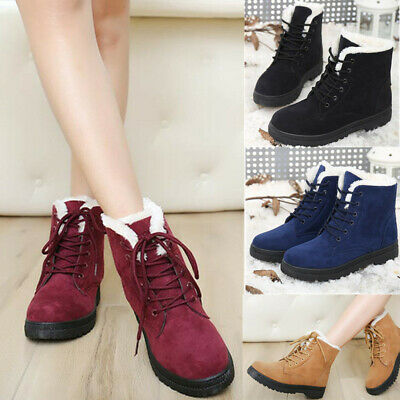 AU Women Winter Warm Shoes Flats Fur Lined Snow Ankle Boots Round Toe Lace Up