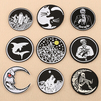 Embroidery Iron-on Sew On Patch Round Applique Self-adhesive Badge Craft DIY