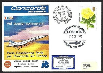 GB Concorde Air France 1976 1st flight cover to Morocco 2000 carried