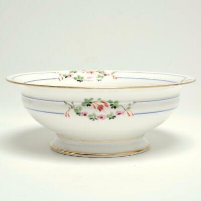 Antique Sevres Style French Porcelain Footed Bowl Floral Sprays & Gold Gilt