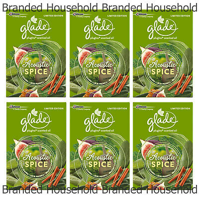 6 x GLADE ELECTRIC PLUG IN OIL AIR FRESHENER ACOUSTIC SPICE REFILL 20ML
