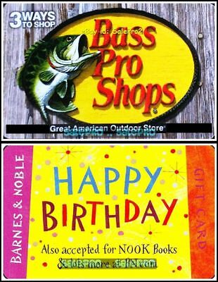 2x BARNES & NOBLE BOOKS HAPPY BIRTHDAY FISH BASS PRO COLLECTIBLE GIFT CARD LOT